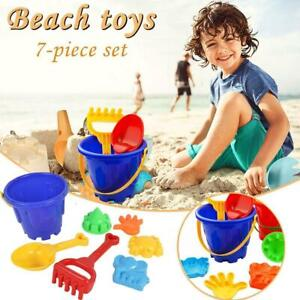 7 PCS Kids Beach Sand Toys for Toddlers Bucket Shell Castle Mold  Watering Can