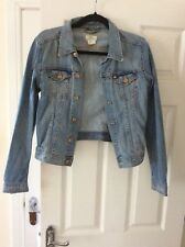 Ladies Light Blue Faded Fitted Cropped Short Denim Jacket- size 12