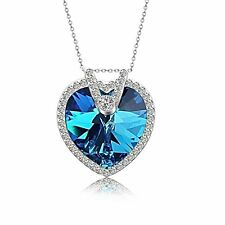 Pealrich Heart Fashion Pendant Necklace with SWAROVSKI Crystal (Blue)