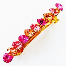 USA BARRETTE Using Swarovski Crystal Hair Clip Pin Accessory Long Gold Pink