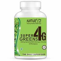Naturyz Super Greens 4G daily supplement with 4 super foods 1000mg Spirulina, 40