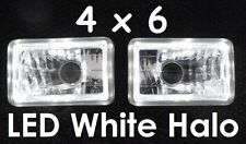 4x6 6x4 160x100 H4 Head Lights Headlights Hi/Low Outer White LED Angel Eye Halo