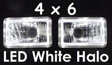 H4 Head Lights Headlights Hi/Low Outer White LED Angel Eye Halo! 4x6 6x4 160x100