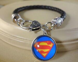 SUPERMAN snap button charm on Black braided leather silver bracelet Women