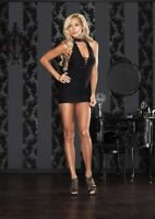Black Halter Keyhole Mini Dress Crochet Back  Leg Avenue 86074