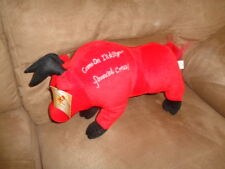 "BULL Red Stuffed Plush 12"" Good Luck I'll Kill Your Financial Crisis Shalom Toy"