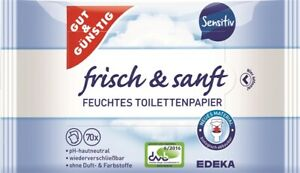 (1,04€/Packung) 12 x Gut&Günstig Toilettenpapier Sensitiv Doppelpack 2x70Stück