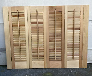 """28"""" Tall x 37"""" Wide VTG Colonial Wood Interior Louver Plantation Window Shutters"""