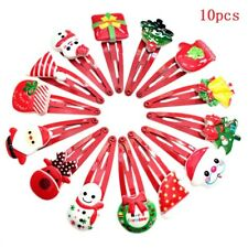 10pcs Cute Kids Girls Christmas Santa Snowman Hairpin Hair Clip Hair Accessories