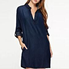 S-5XL Women's Lapel Shirt Dress Deep V Denim Blue Cotton Asymmetrical Mini Dress