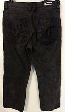 COOGI Embroidered Pockets Black Denim Leather Trim Jeans Men's Size 36 X 34