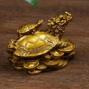 1Pc Gold Feng Shui Dragon Turtle Tortoise Statue Figurine Coin Money WealthEBDNI