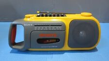 Yellow Sony CFM-104 SPORTS Cassette Player Tape Recorder AM / FM BOOMBOX