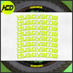 8 Fluorescent UV Yellow Husqvarna Wheel Rim Safety Motorcycle Stickers HiViz 701