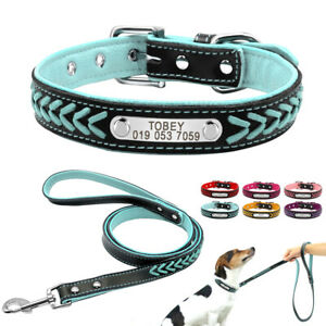 Braided Leather Personalised Dog Collar and Leash Pet ID Name Tag Engraved XS-XL