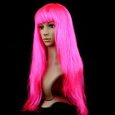 Anime Cosplay Hot Multicolor Synthetic Hair Wig Costume Long Straight Wigs Party