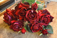 Bunch of 9 Rich Red Velvet Roses & Rose Buds, Artificial Luxury Silk Flowers