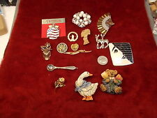 #6 of 18, LOT OF OLD VTG COSTUME JEWELRY, BROOCHES, FLAG, SPOON DEER, ROSE, MORE