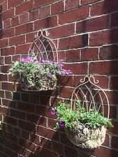 Set of 2 Garden Patio Wall Planters Shabby Chic Distressed Cream Finish