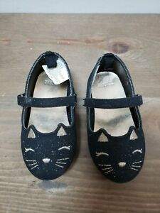 Gymboree Toddler Girls Kitty Cat Shoes Black Sparkle Mary Janes Size 5