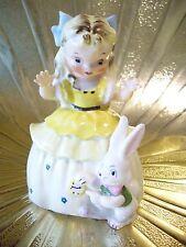 Vintage Napco Alice in Wonderland Girl w/ Rabbit Bunny Easter Figurine