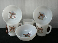 FIRE KING FIREKING RINGNECKED PHEASANT BOWLS AND D-HANDLED MUGS
