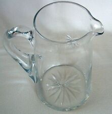 "Vintage PITCHER Cut Etched CLEAR Glass STARBURST Design 8"" Tall SERVE WATER 48oz"