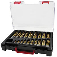 TERRAX 170pcs Drill Bit Set HSS-TiN, 1 - 10.0 mm Titanium Coated Drills HSS