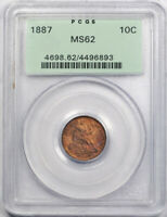 1887 10C Seated Liberty Dime PCGS MS 62 Uncirculated OGH Toned Beauty