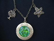 GREEN MAN Photo LOCKET Necklace Wicca Bronze Pagan Tree Life Sacred Oak Fantasy