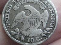 1830 Capped Bust Silver Dime- VG/Fine Details- Large 10 C