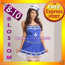 B72 Blue Sailor Fancy Dress Uniform Ladies Costume 8 10