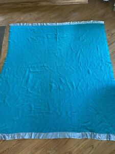 Vtg ACRYLIC Aqua Teal Blue Green Blanket Thermal Waffle Weave Satin Trim 67x76
