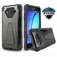 BLACK FUSION ARMOR COVER PHONE CASE W/ KICKSTAND FOR SAMSUNG GALAXY LUNA 4G LTE