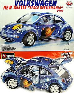 VW New Beetle Space Beetlemania 1998 blau blue 1:18 Bburago Metall Bausatz Kit