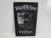 "Vintage Style Metal Bar Sign - Black Goat Tavern Dunwich MA 10"" x 16"" - Sigh Co."