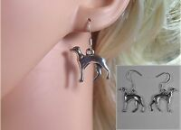 Handmade Silver Plated Greyhound/Whippet Earrings