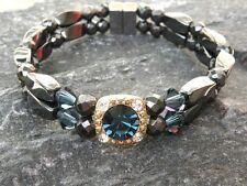 Women's Magnetic Hematite Bracelet Anklet 2 Row 9 Colors with Swarovski Crystal