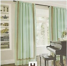 "NEW HOTEL WINDOW DRAPERY 2 PANELS ""ELAN"" TEAL BROWN DUPIONI A PAIR NIP"
