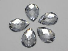 50 Clear Flatback Acrylic Rhinestone Teardrop Gems 18X25mm No Hole