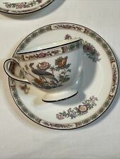 Wedgwood Kutani Crane Pattern Leigh Shape Footed Cup & Saucer Ex Cond