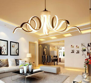 Nordic LED Acrylic Ceiling Lamp Creative Curved Linear Chandelier Pendant Light