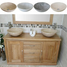 Bathroom Vanity Unit | Solid Oak Cabinet Wash Stand with Stone Basin 02ASBCX2