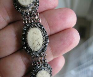 Antique Vintage  Chinese  Etched Panel Silver  Filigree Bracelet