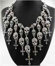 Skeleton Skull Choker Pendant Necklace Gothic Punk Cross Vintage Statement Rock