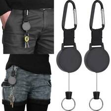 2pcs Retractable Stainless Keyring Pull Ring Key Chain Rope Recoil Heavy Duty B