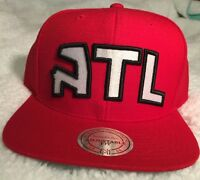 Mitchell & Ness Atlanta Hawks XL Logo Snapback Hat Cap Black Red - NBA