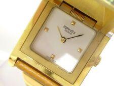 Auth HERMES Medor Gold LightBrown White Women's Wrist Watch 664638