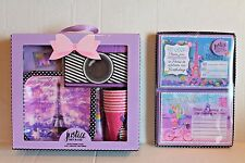 Justice Girls Birthday Party In A Box Paris Theme Set for 8 + Invitations NEW