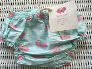 POTTERY BARN DIAPER COVER AQUA WITH PINK BUTTERFLYS 6-12 MO. NWT
